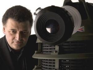 Moffat, with a Dalek. (Source: Den of Geek)