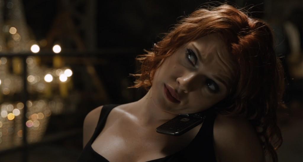 Black Widow (Scarlett Johanssen) is in control in The Avengers.