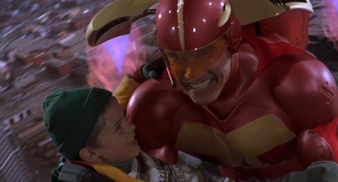 The climax of the film sees Arnold saving his son while wearing a completely functional TurboMan suit, complete with jetpack.