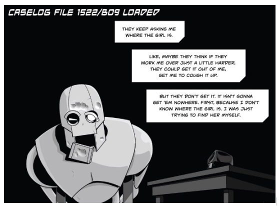 Copernicus Jones: Robot Detective #1 interior panel. Art by Kevin Warren with lettering by Dylan Todd.
