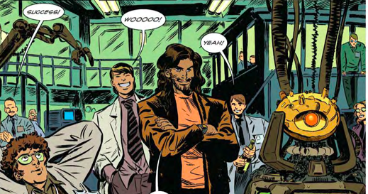 "80's scumbag Taylor oversees the birth of the ""Horizon"" AI. Art by Dan McDaid, colors by Melissa Edwards."