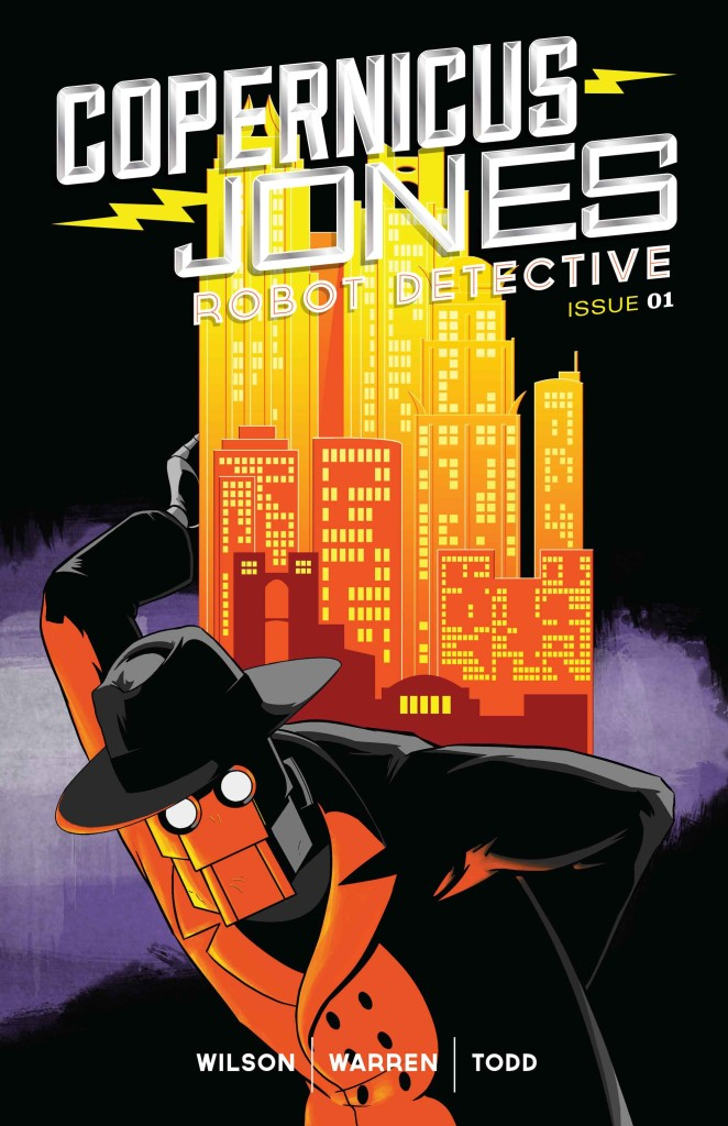 The cover to Copernicus Jones: Robot Detective #1. Art by Kevin Warren.