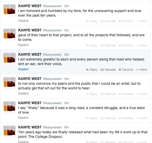 Kanye sharing his thoughts on this anniversary through Twitter.