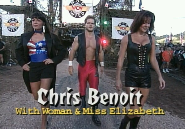 Benoit, his wife, and Macho Man's ex-wife. No one from this image is still alive. Screenshot courtesy of @SundownMotel,
