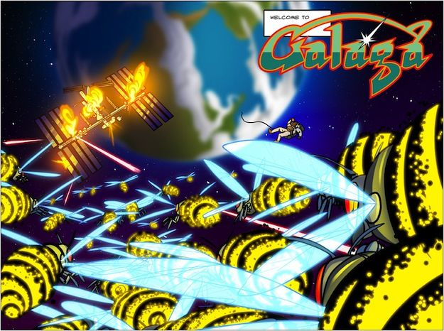 A page from Shiftylook's Galaga. Art by Christopher Hastings and Anthony Clark.