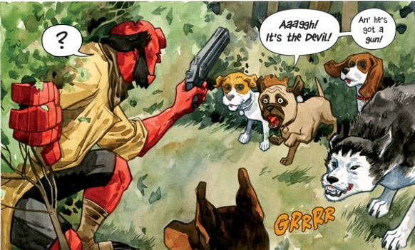 "Mike Mignola's Hellboy teams up with Burden Hill's protectors in ""Sacrifice"". Art by Jill Thompson."