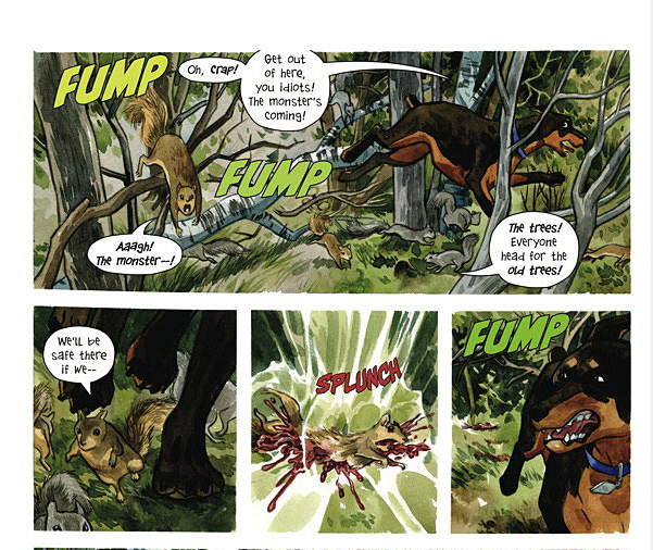 "Several panels from the upcoming Beasts of Burden one-shot, ""Hunters and Gatherers"". Art by Jill Thompson."
