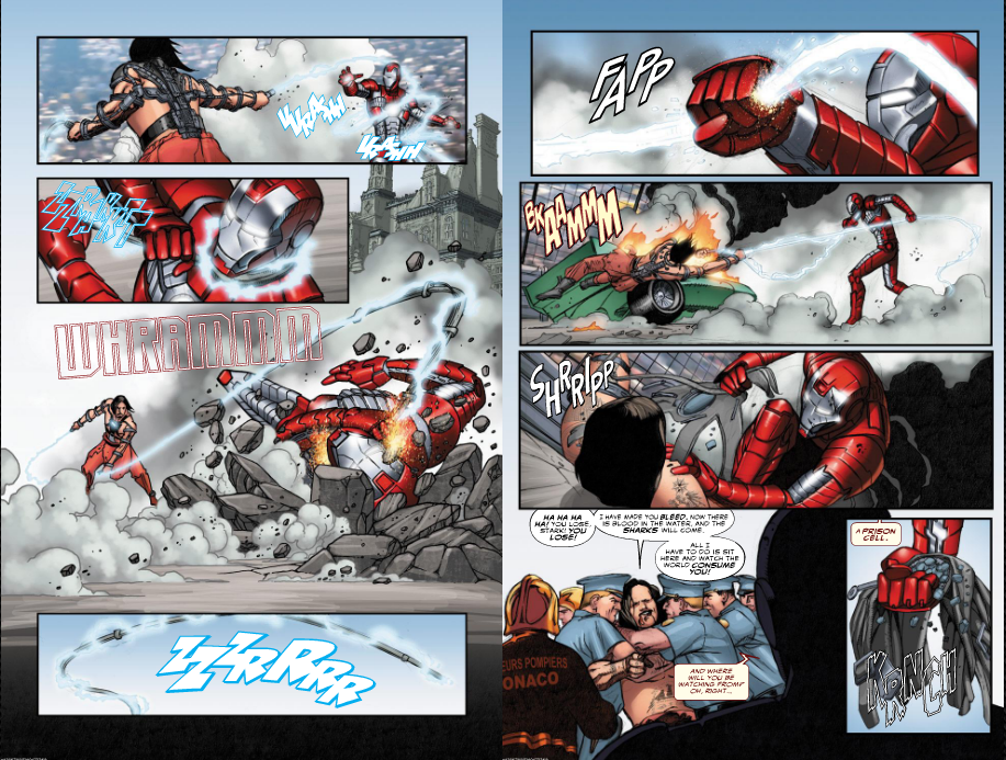 A page from Marvel's Iron Man 2 adaptation. Art by Rosanas.
