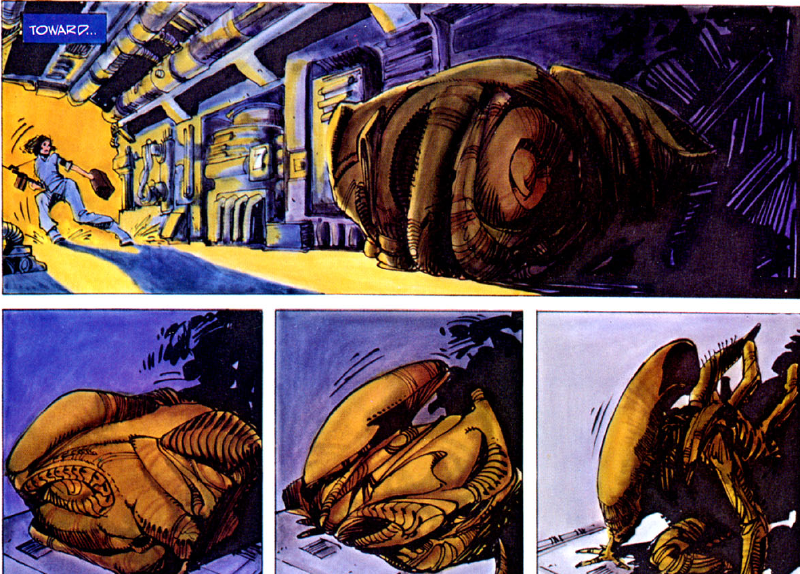 Panel sequence from Alien: The Illustrated Story. Art by Walter Simonson.