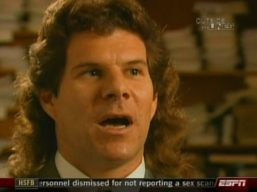 Dave Meltzer, wrestling's foremost journalist, whose Wrestling Observer has been the most reliable dirtsheet for decades. Any excuse to post this mullet.