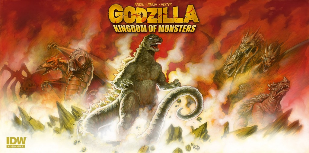 A gatefold cover for Godzilla: Kingdom of Monsters by