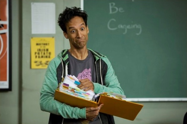 Danny Pudi as Abed Nadir channeling Nicolas Cage as...the guy from The Wicker Man? Maybe?