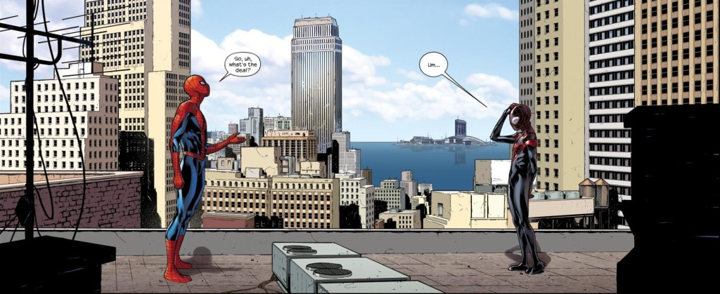 At long last, worlds collide in Spider-Men #2. (Art by Sara Pichelli)