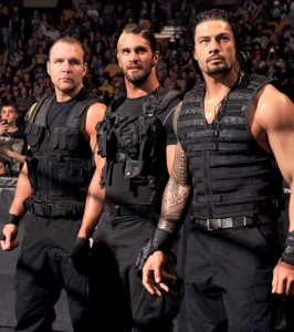 L to R: Dean Ambrose, Seth Rollin, and Roman Reigns.