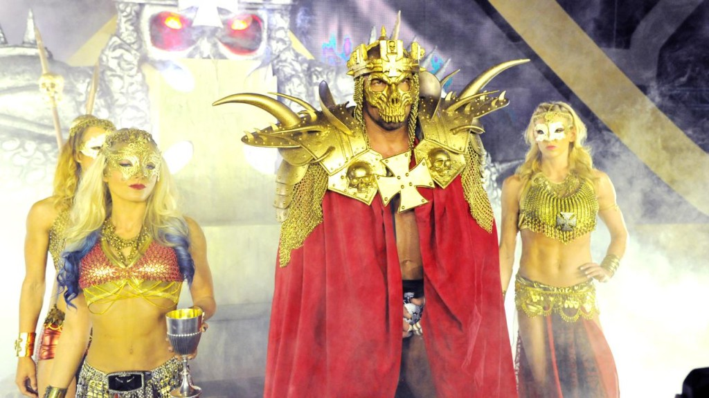 A real Wrestlemania entrance, not the last act of Masters of The Universe.