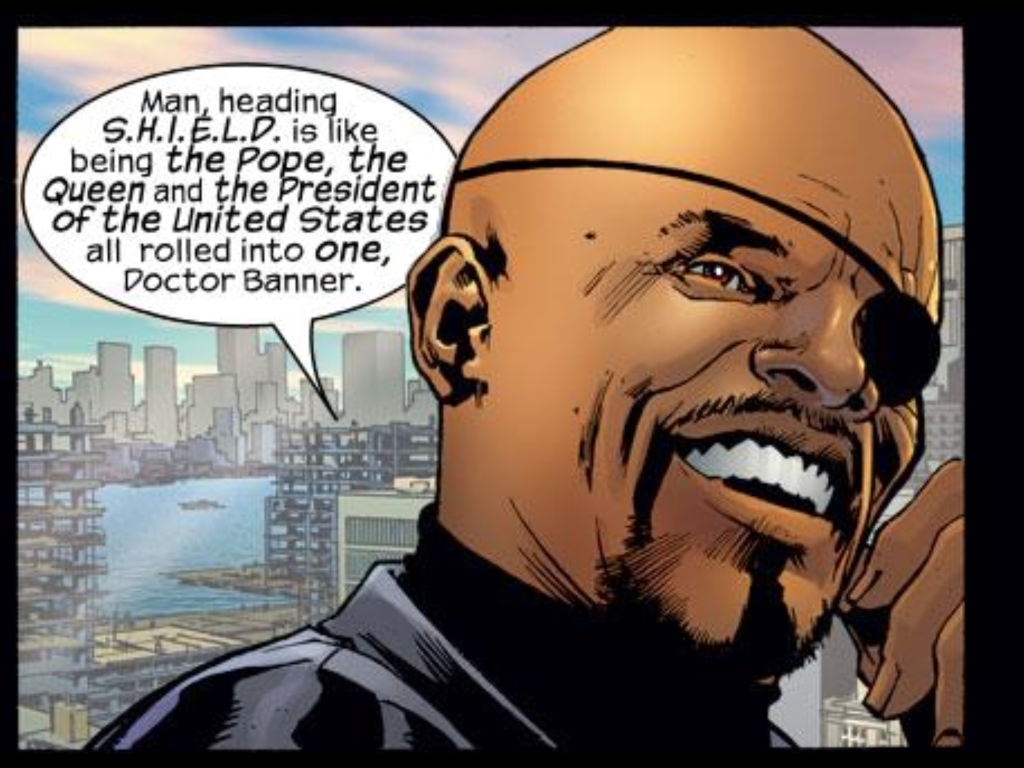 Mark Millar and Bryan Hitch famously cast Samuel L. Jackson as Nick Fury in Ultimates, forecasting his eventual big-screen role. (Art by Bryan Hitch, from Ultimates v.1 #2)