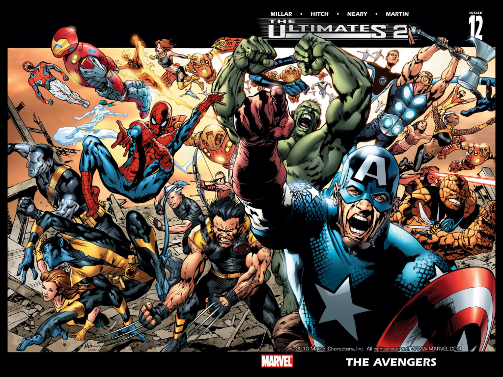 Ultimate Marvel: The Original Cast. (Cover to The Ultimates 2 #12, art by Bryan Hitch)