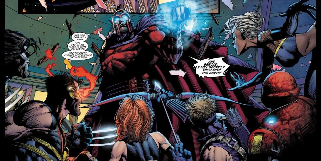 The final showdown in Ultimatum #4. Art by David Finch.