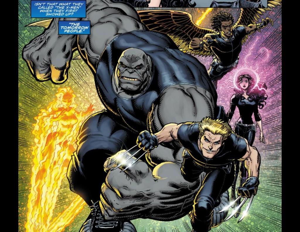 Liz Allen, Hulk, Guardian, Karen Grant and Jimmy Hudson in Ultimate X #5. (Art by Art Adams.)