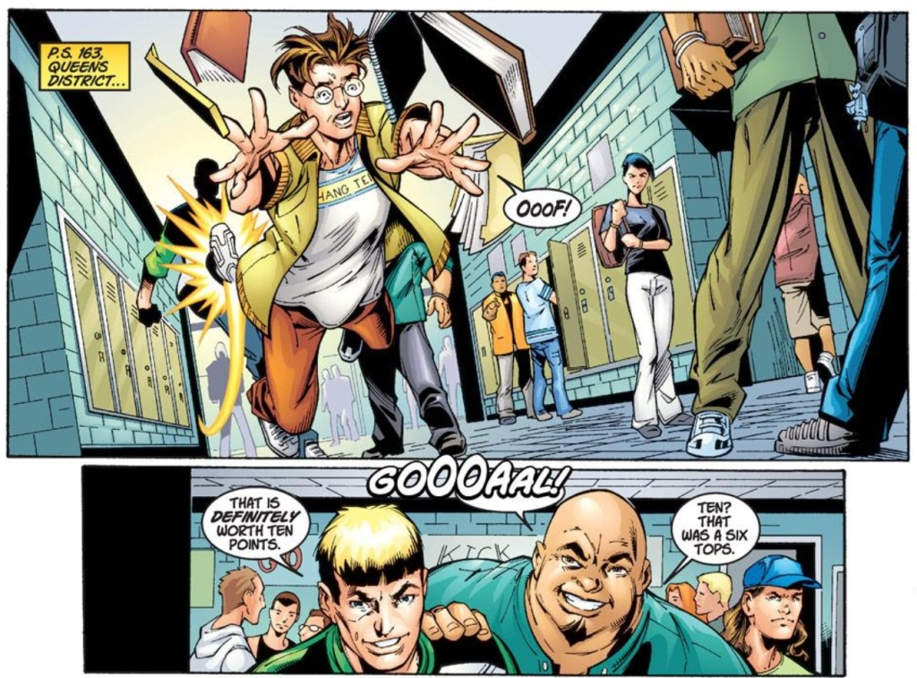 Peter Parker's everyday life is a hell in Ultimate Spider-Man #1. (Art by Mike Bagley)