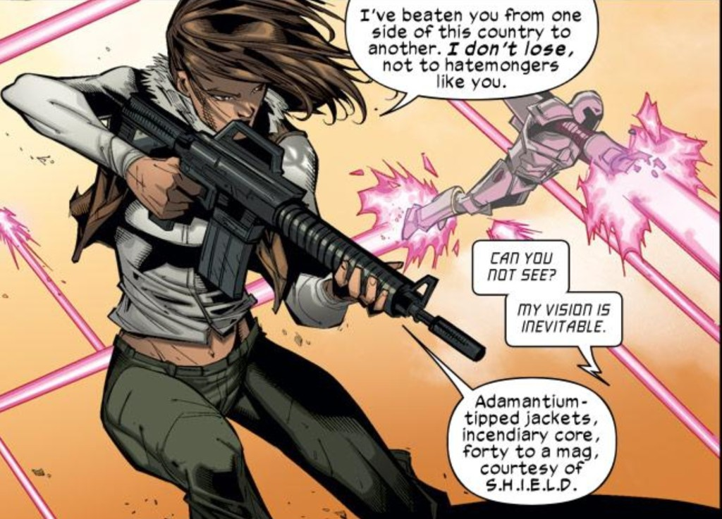 Kitty Pryde is an armed revolutionary leader in Ultimate X-Men v.2 #18. (Art by Carlo Bareri)