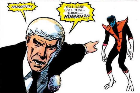 Panel from X-Men: God Loves, Man Kills. Art by Brent Anderson.
