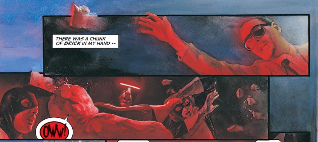 Panels from Marvels #2. Art by Alex Ross.
