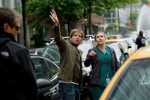 Gareth Edwards directs actress Elizabeth Olsen. (source)