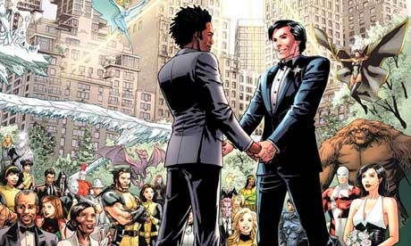 Northstar's wedding in Astonishing X-Men #51. Art by Mike Perkins.