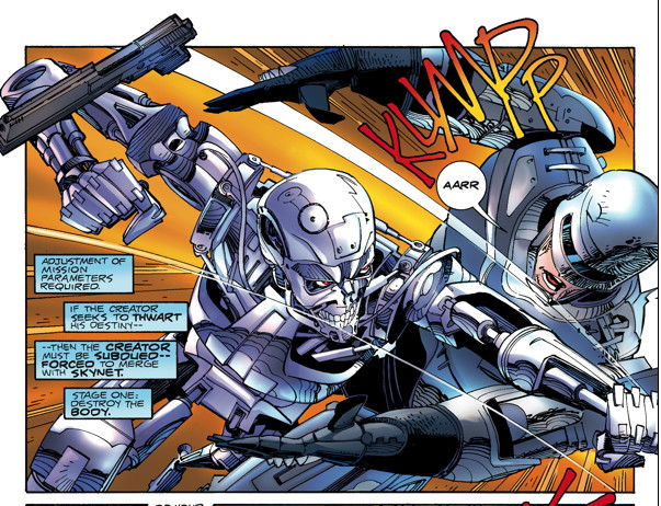 Panel from Robocop Versus The Terminator as it appears in 2014 edition (colors by Steve Oliff).