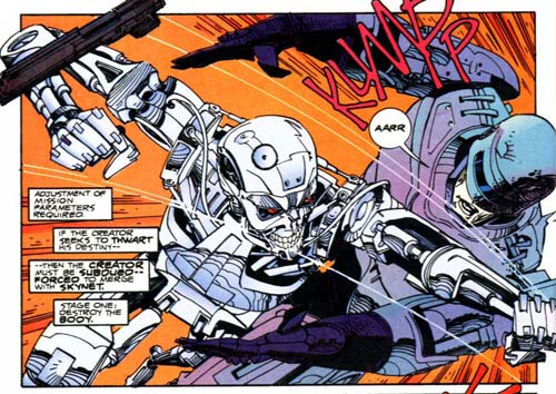 Panel from Robocop Versus The Terminator as it originally appeared (colors by Rachelle Menash).
