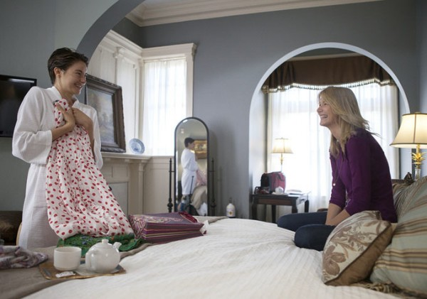 Laura Dern (right) is excellent as Hazel's supportive mother. (source)