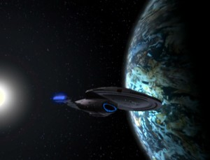 The Starship Voyager exploring new worlds on her long journey home from the far reaches of space.