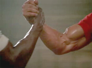 Arnie's right arm actually got its SAG card for this role.