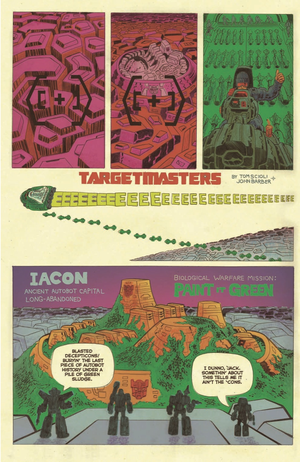 An interior page from Transformers vs G.I. Joe #2. Art by Tom Scioli.