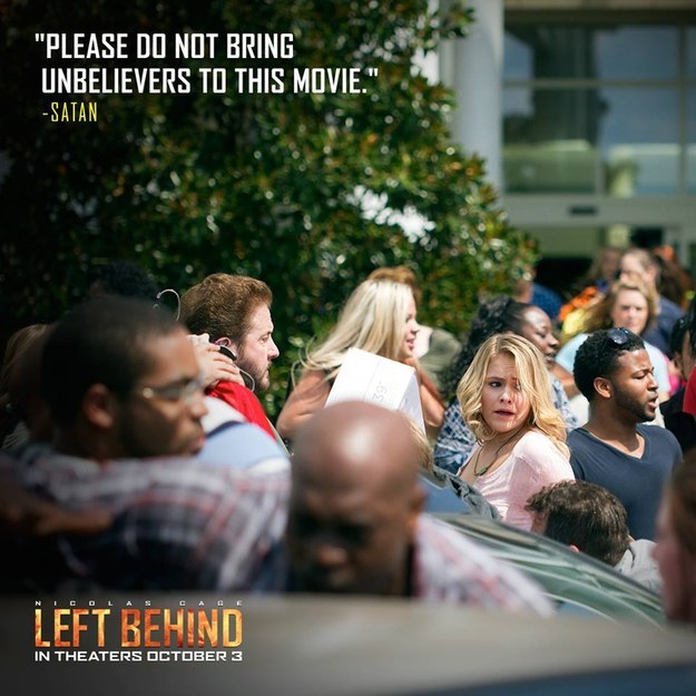 A pullquote from Left Behind's harshest critic, courtesy of the movie's official Facebook account.