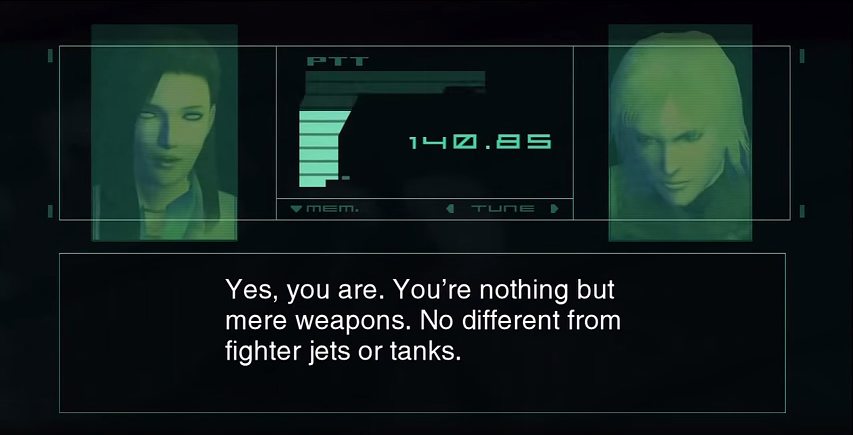 Arsenal Gear taunts you using the voice and visage of Raiden's lady love...who turns out to be a Patriot spy.